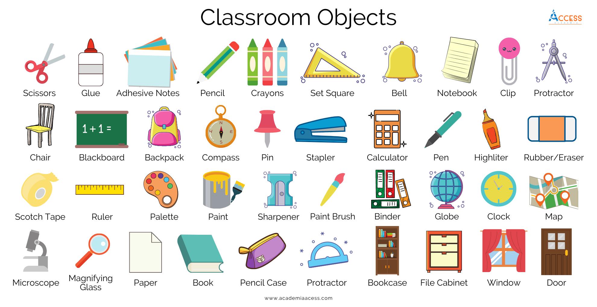 objetos del salon de clases, classroom objects, academia access, aprende inglés gratis